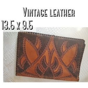 Vintage leather portfolio book cover clutch